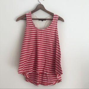 Ocean Drive Red Stripe Crochet Back Tank Top sz L